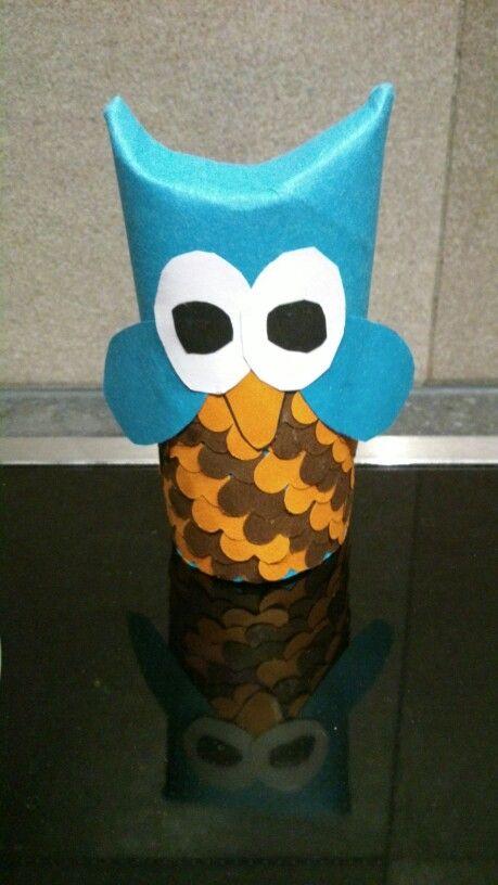 Hibou en rouleau de papier toilette id es clara pinterest - Idee bricolage avec rouleau de papier toilette ...