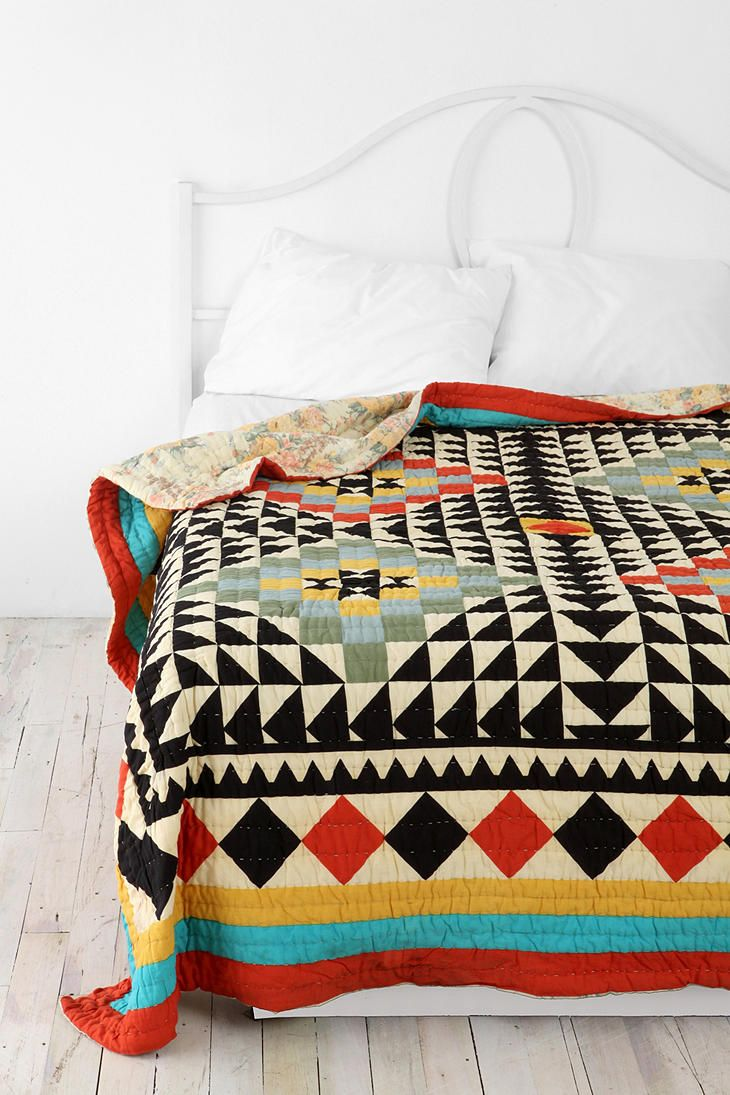 Kaleidoscope Patchwork Quilt at Urban Outfitters #aztec #graphic #geometric #quilt #home #bedding