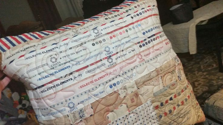Selvage Pillow from Tim Holtz Correspondence 1 Quilt