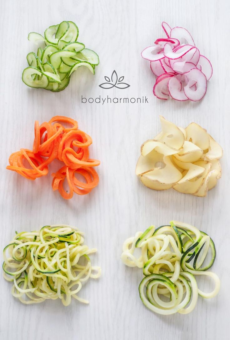 Types of vegetable spiral shapes that can be created with the three spiralizer blades included in the bodyharmonik vegetable noodle maker / pasta maker.