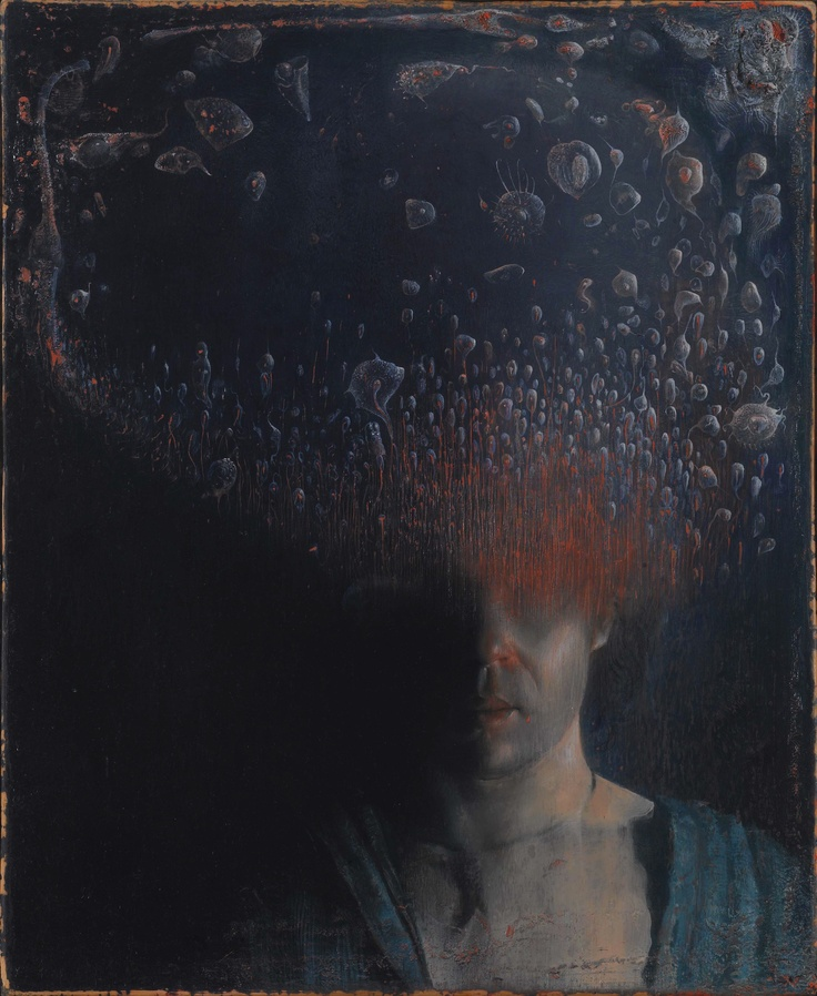 Selfportrait with bacterial cloud  oil on linen