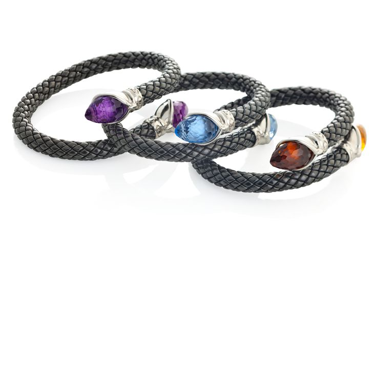 CHIMENTO HD Silver bracelets with black ceramic and amethyst, blu topaz and citrin quartz.