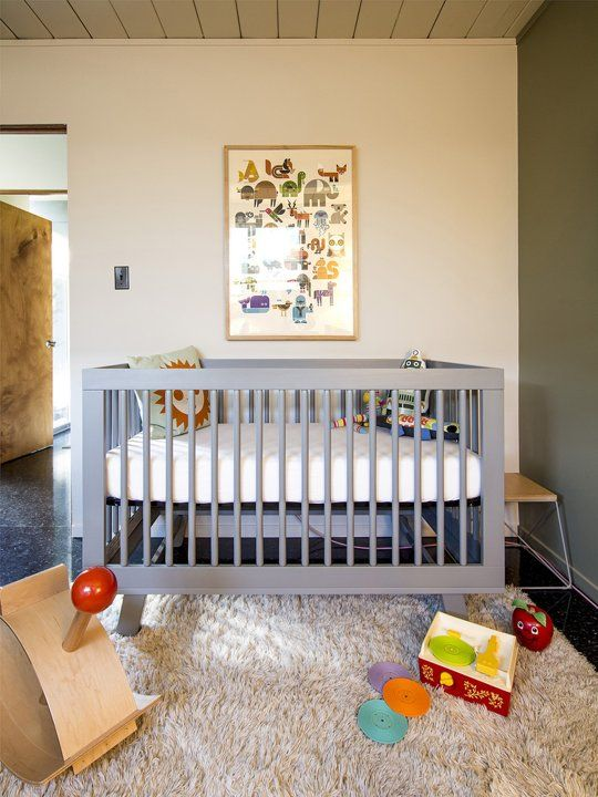 Truman's Mid-Century Marvel My Room with Babyletto Hudson 3-in-1 Convertible Crib in Grey <3