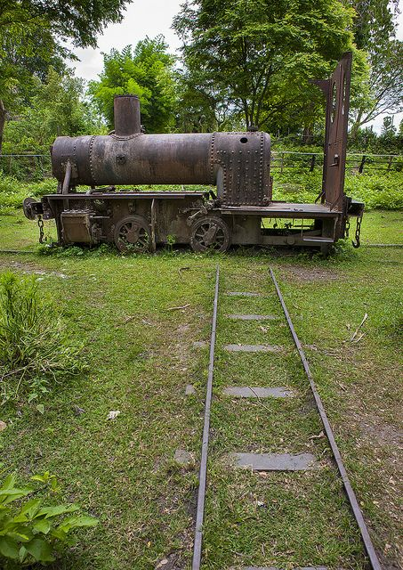 Remains Of Old Miniature Gauge Train Engine Used By French Colonialists, Don Khong Island, Laos   ..rh