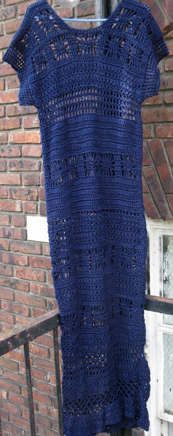 NAVY blue crochet MAXI DRESS by Elegantcrochets on Etsy, $298.00