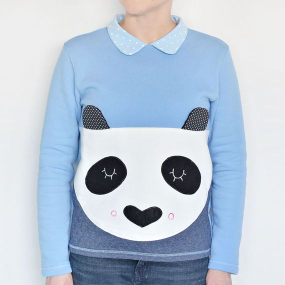 Panda t-shirt, panda top, cute top, gift for women, for girl, animal sweetshirt, blue t-shirt, costume, dots #ladystump #panda #cutepanda #sweatpanda #sweatshirtpanda #long #bluetshirt #designclothes
