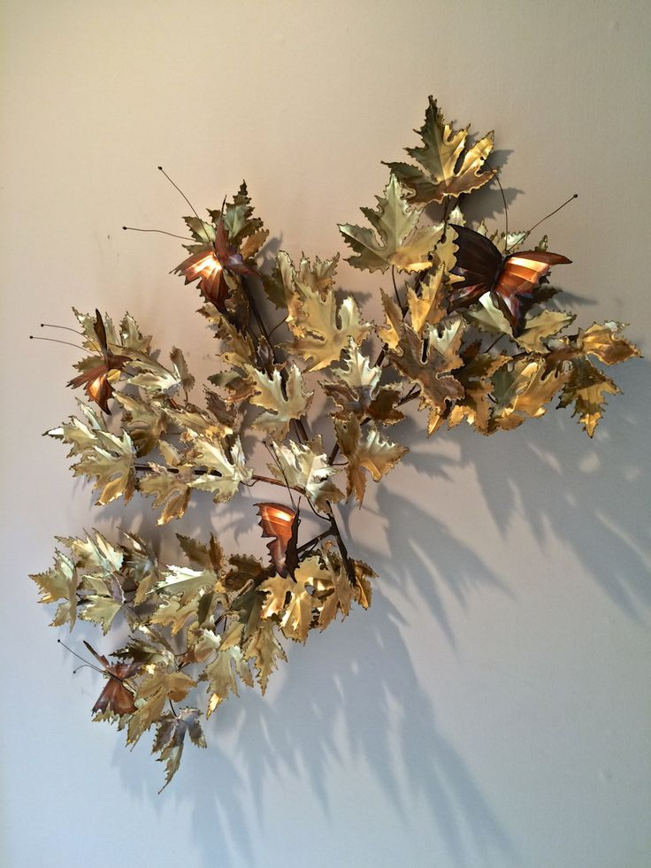 extra large c jere brass maple leaf tree branch and butterflies wall sculpture
