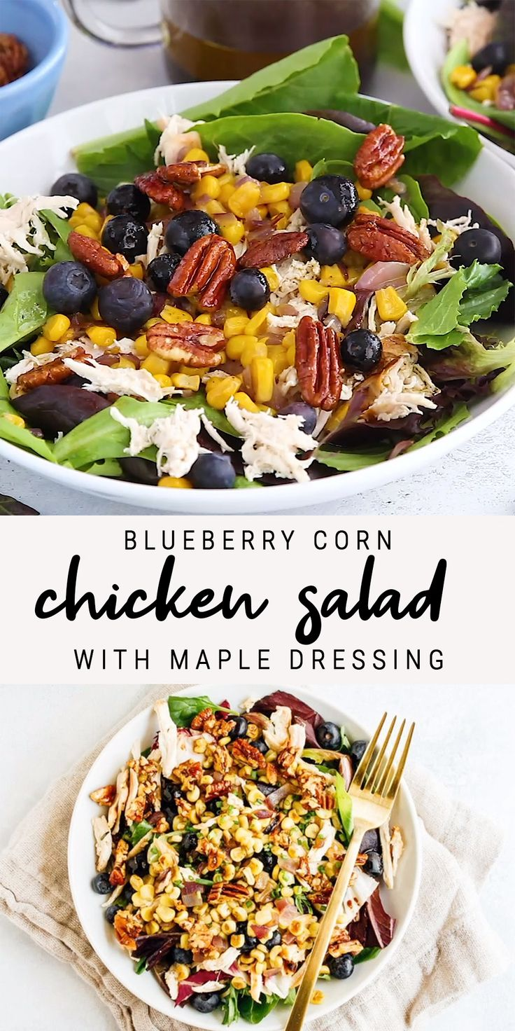 Blueberry Corn Chicken Salad with Maple Dressing