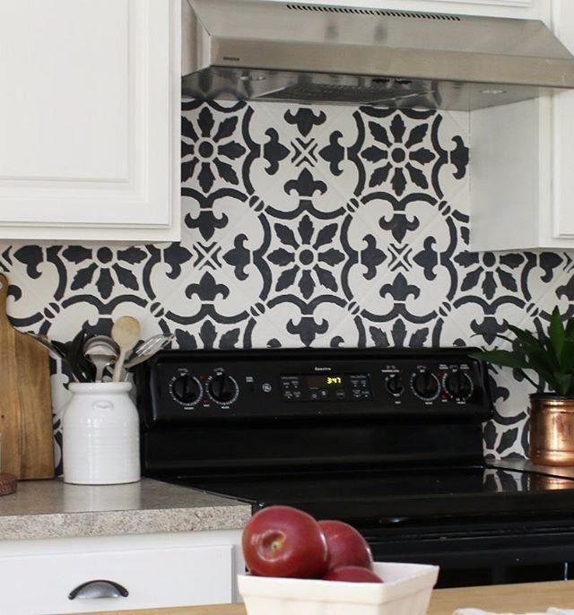 Lovely Stencil Tile Backsplash Part - 14: A DIY Stenciled Kitchen Backsplash Using The Fabiola Tile Stencil From  Cutting Edge Stencils. Http