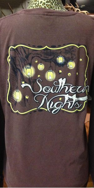 """""""Southern Nights, free as a breeze..not to mention the trees."""" This long sleeve tee has the perfect graphic that reflects those southern nights. Long Sleeve, 100% ringspun cotton """"Comfort Colors"""" text"""