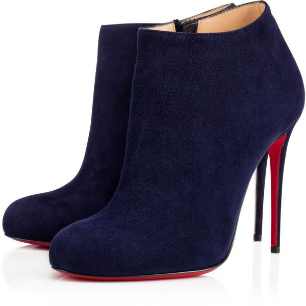 Christian Louboutin Bellissima ($995) ❤ liked on Polyvore featuring shoes, boots, ankle booties, louboutin, ankle boots, christian louboutin, nuit, suede boots, short boots and suede ankle booties