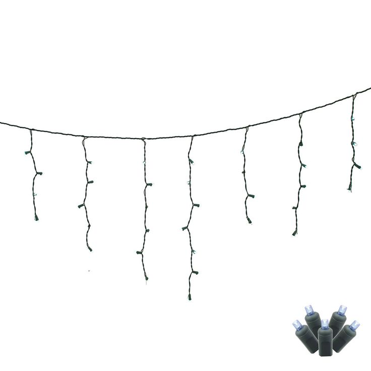 70 Pure White LED Lights / Green Wire Wide Angle 9Ft. Icicle Christmas Light Set