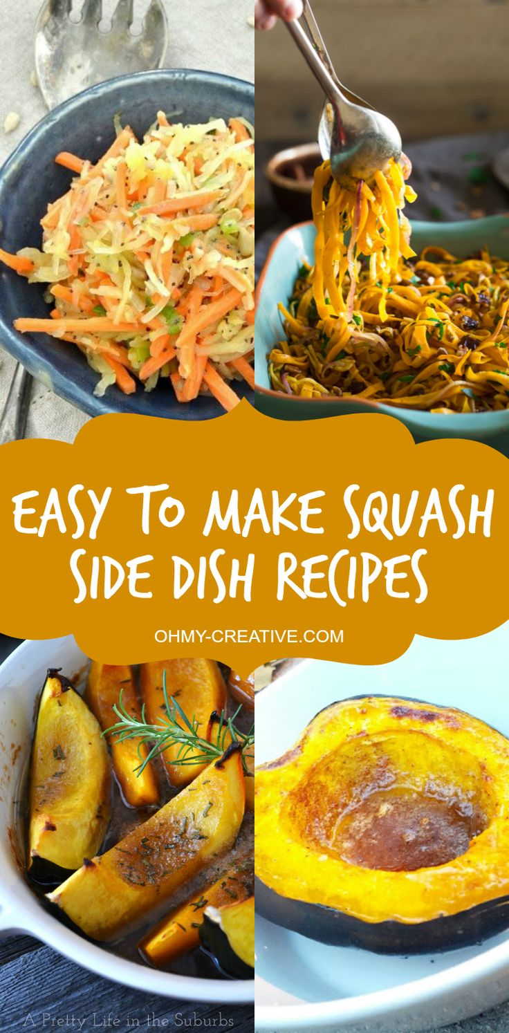 These easy to make Squash Side Dish Recipes are full of flavor and use only a few ingredients to make a perfect side dishes for Thanksgiving or throughout the year! Beautiful presentation for a crowd! | OHMY-CREATIVE.COM
