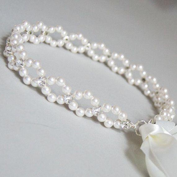 Bridal pearl crown Pearl tiara Bridal crown Wedding by DecorUA