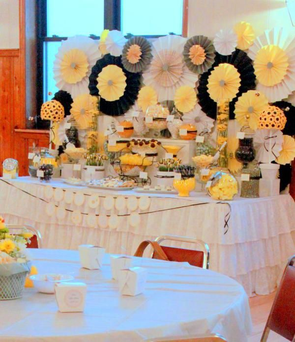 A gorgeous candy buffet by Parties by KLM featuring a printable party banner and custom printable buffet cards by ThumbAlina Lane