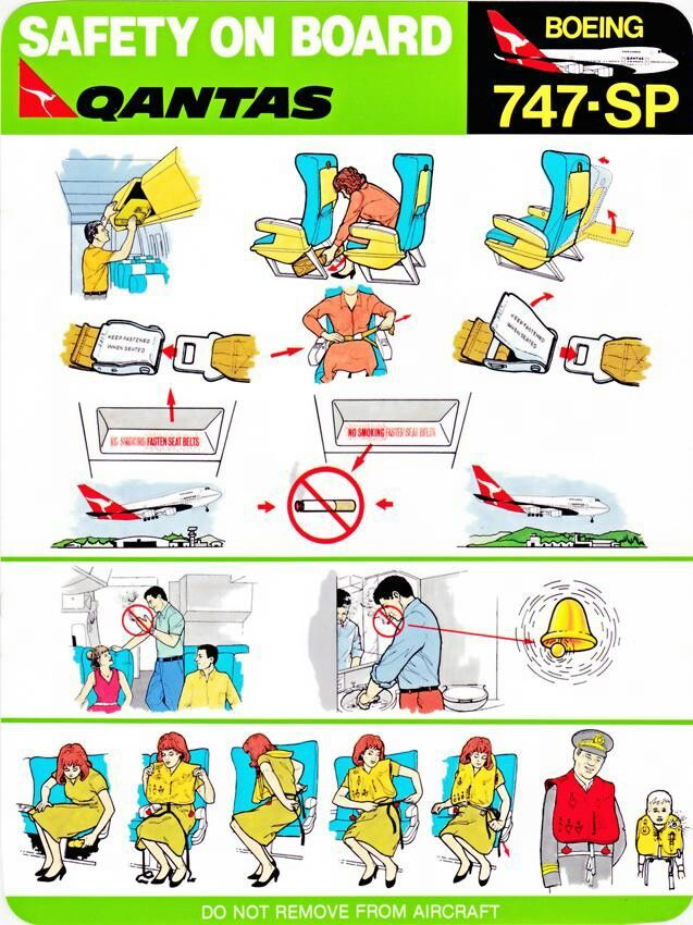 Qantas 747sp Safety Card