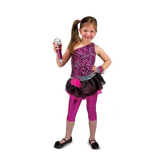 Deze roze rock ster verkleedset bestaat uit een jurk, legging, microfoon en een armstuk. De jurk is gemaakt van polyester en is geschikt voor kinderen van 3 tot 6 jaar.