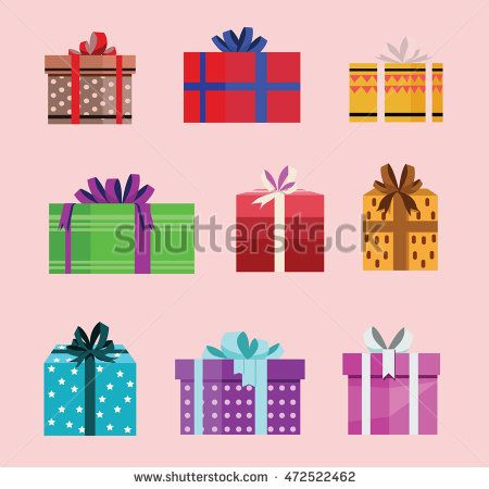 gift box birthday set present with different pattern. vector illustration 94