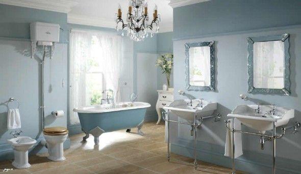 like the idea of a chandelier in a bathroom!!: Bathroom Design, Decor Ideas, Victorian Bathroom, Clawfoot Tubs, Interiors Design, Dreams Bathroom, Bathroom Suits, Bathroom Ideas, Blue Bathroom
