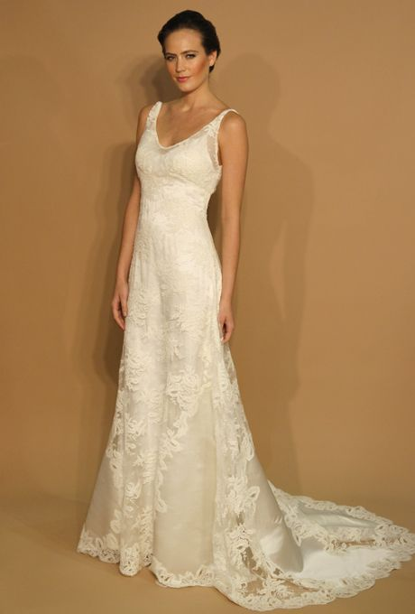 "Brides: Birnbaum & Bullock - Spring 2013. ""Faith"" sleeveless Chantilly lace A-line wedding dress with a v-neckline and silk satin insets, Birnbaum & Bullock"