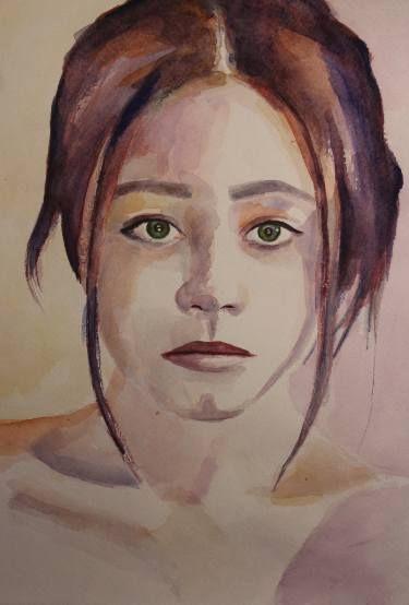 Watercolor portrait of beautiful girl #art #print #portrait #watercolor #color #painting #littlegirl #girl #sketch #impression #original #sigth #взгляд #принт #портрет #акварель #живопись #принт #цвет
