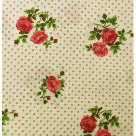 Coton imprimé roses et pois beige