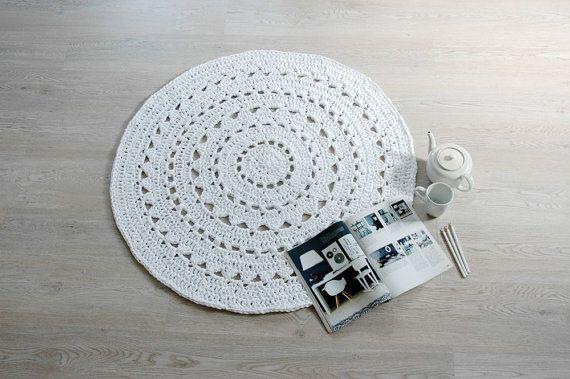 Doily Crochet Rug NUULA / Boho Area Rug / Chunky Crochet Carpet / Shabby Chic / Cottage Style - White
