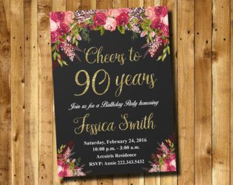 90th birthday invitations – Etsy