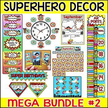 Superhero Theme Classroom Decor Bundle Part 2   Clip Chart