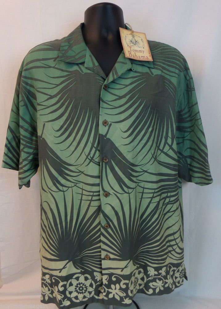 New Tommy Bahama Hawaiian Shirt Green Palms Men Silk
