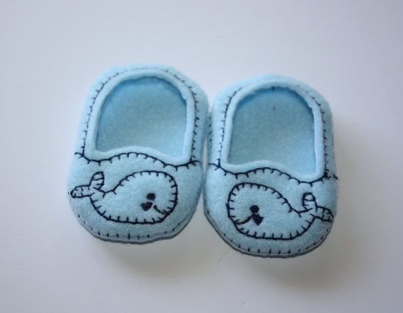 18 Doll Shoes Whales on Blue Felt  SlipOn Doll by FrogBlossoms, $4.00