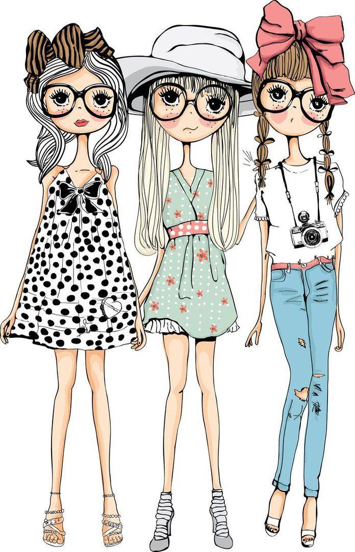 Картинки с 3 девушками нарисованные
