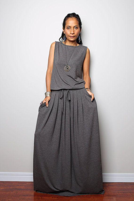 Gris Vestido de Maxi  vestido gris Top sin mangas: otoño