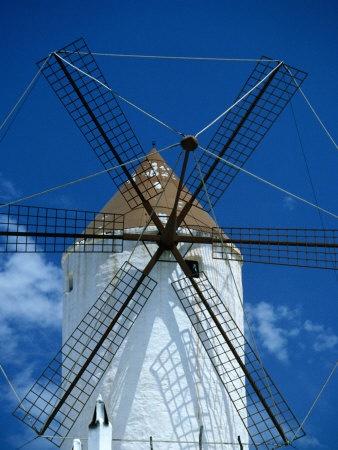 a restored windmill outside es mercadal