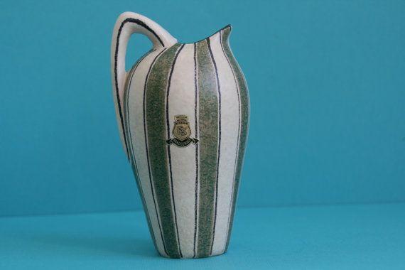ES Keramik Vase 50er Jahre Dekor Westdeutschland Keramik Fat