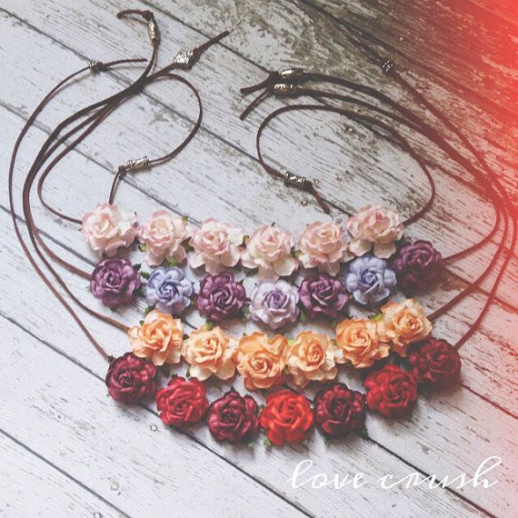 boho hippie flower halo ||roses|| suede tieback || headwrap ||headband|| bridesmaids|| flowergirls|| child-adult || CHOOSE ONE on Etsy, Sold
