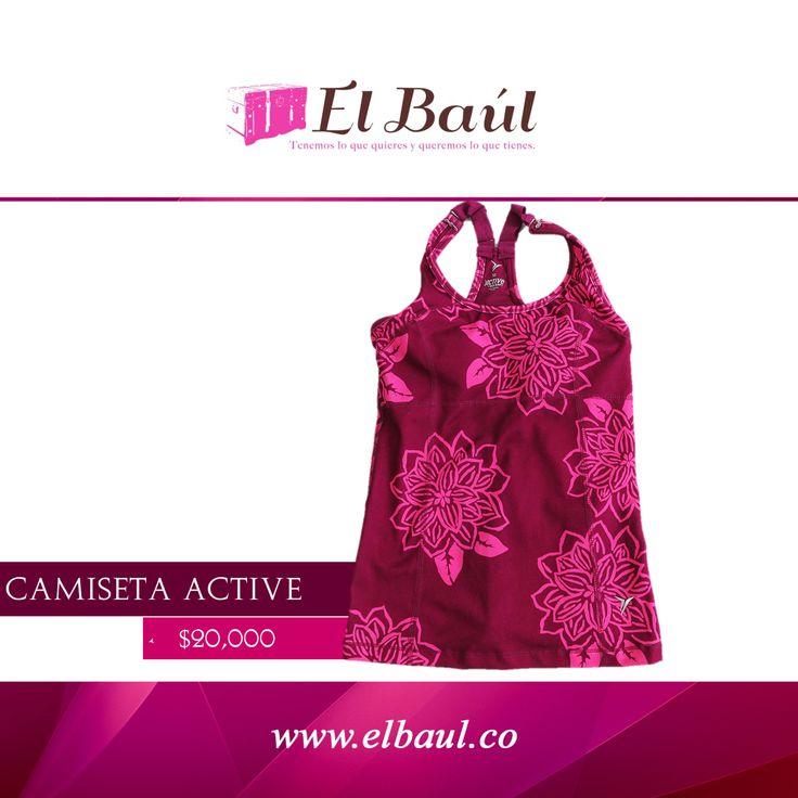 Camiseta Active morada con rosado flores deportiva  $20,000  http://elbaul.co/Productos/472/Camiseta-Active-morada-con-rosado-flores-deportiva-