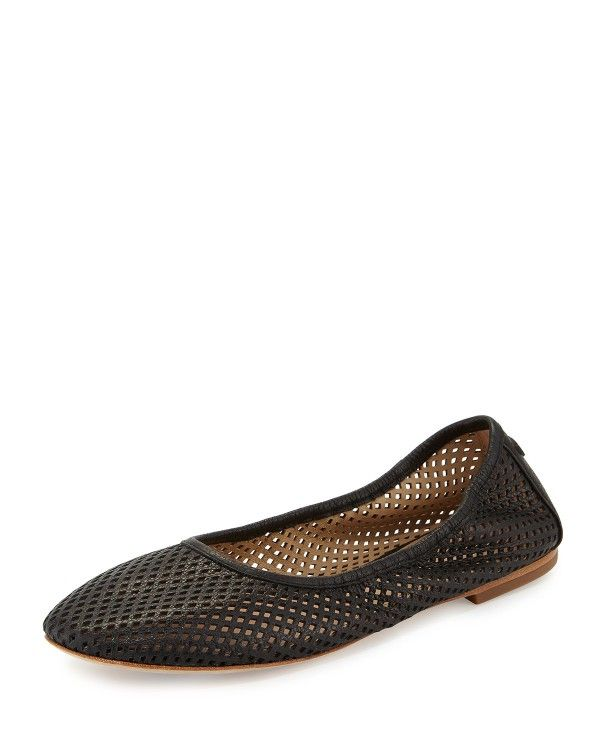 Tory Burch - Whittaker Perforated Leather Ballerina Flat