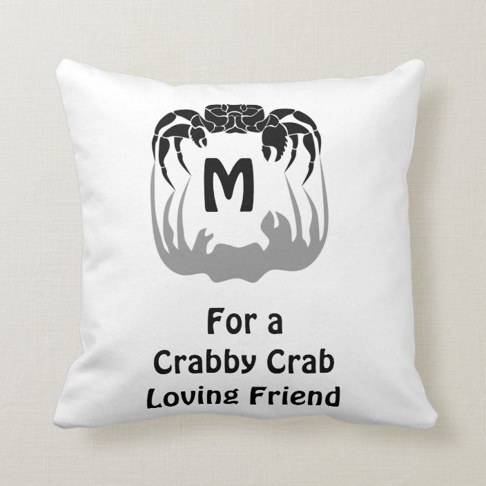 Ghost Crab Silhouette Casting A Shadow Monogram Throw Pillow Zazzle Com Monogram Throw Pillow Throw Pillows Monogram