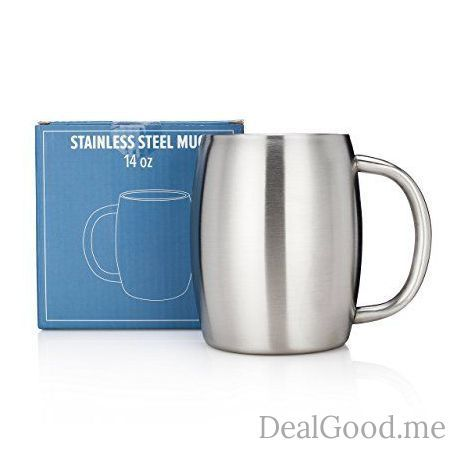 Stainless Steel Coffee Mug by Avito- 14 Oz Double Walled Insulated  BPA Free Healthy Choice  Shatterproof  Best Value