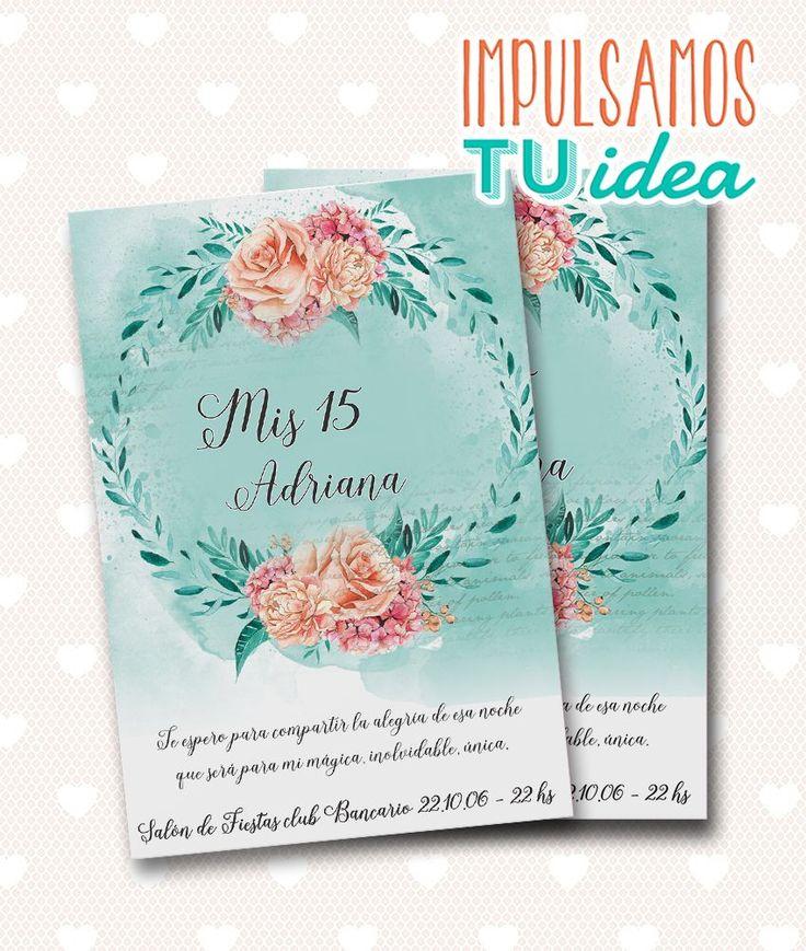 Invitación de 15 - Tarjeta de quince para imprimir acuarela