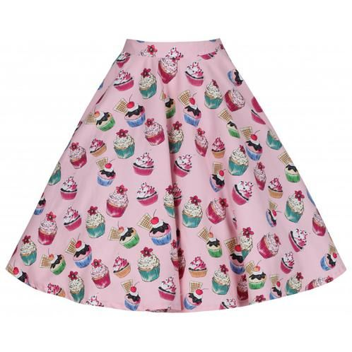 Lindy Bop 'Peggy' Pink Cupcakes Print Full Circle Skirt