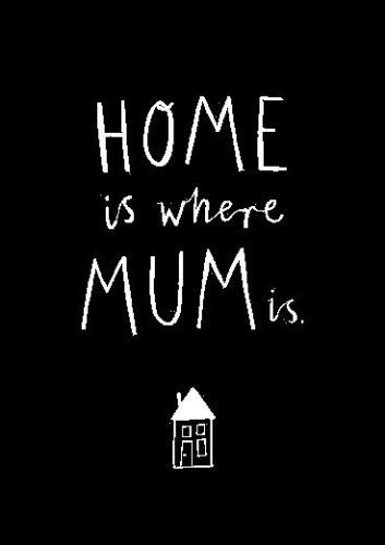 Happy mothers day wishes from son or daughter.The quote reads home is where mum is.Without mom a home is never a home.