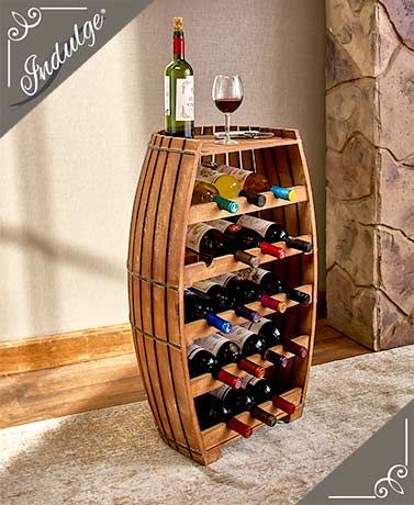 drops from $124.98 to $74.99 at Lakeside Collection. Enter promo code DGK8E5 at checkout and the $26.99 shipping fee drops to $18. This brings the total to $92.99.  Mark yourself as a wine connoisseur with this eye-catching 18-Bottle Wood Barrel Wine Rack in your home. Crafted of solid wood, it's the perfect place to store