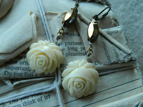 Carved Bone Roses Assemblage Earrings by 58diamond by 58Diamond