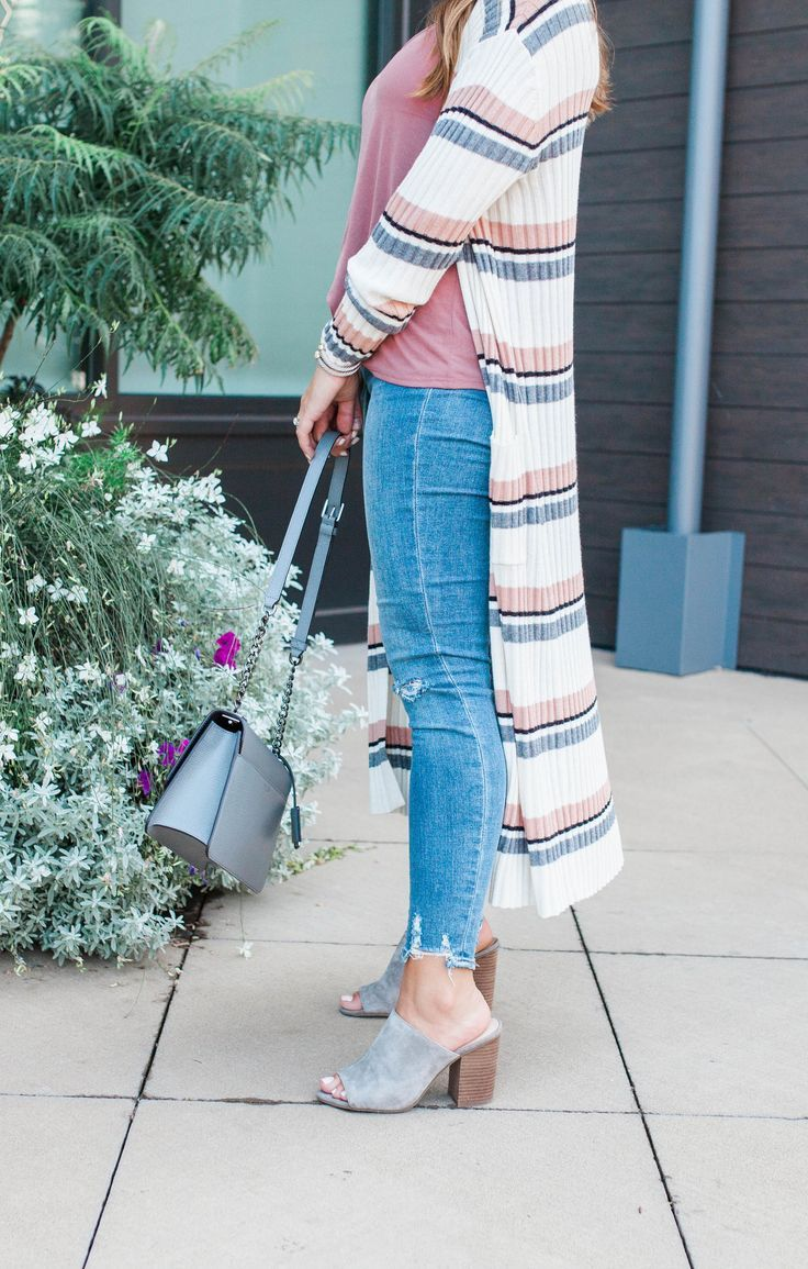 61085af833 Long Stripe Cardigan / Fall Outfit Idea via Glitter & Gingham / Affordable  Fall Outfit