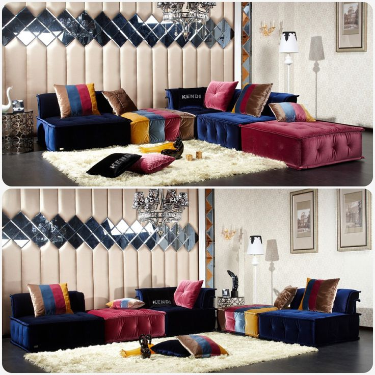 Multi Colored Silk And Nylon Fabric Sectional Sofa With A Low To The Ground Presentation Showcases