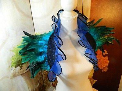 Federstola Türkis blau Pfau Kostüm Bolero Samba Tribal Dragqueen Tanz Karneval