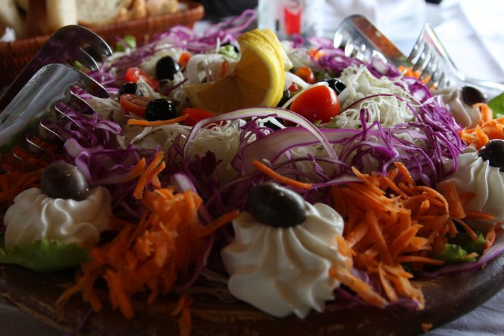 Huge, fresh Albanian salad. We have culinary tour for the best of Albanian cuisine.http://www.albania-holidays.com/tours-to-albania/albania-culinary-tour