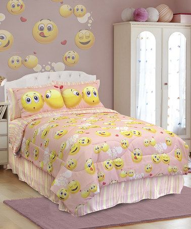 What a happy place! This Emoji Comforter Set by Veratex is perfect! #zulilyfinds